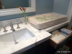 marble counter  kids bathroom large enough for changing table!!!