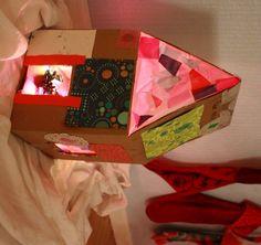 Rainbow-Lighted Cardboard Dollhouse