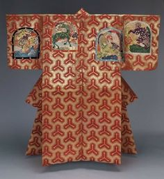 Noh costume (atsuita) Kimono Japanese, late Edo or Meiji era, 19th century, Noh theater robe (atsuita) with an overall design of a tri-pronged tortoiseshell or sword tip motif (bishomon-kikkô) in red silk and gilt paper on the top half of the robe and red and yellow silk discontinuous supplementary patterning wefts on the bottom half. MFA