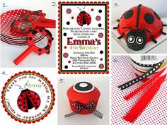 1. Polka-dot plates and ladybug magnifying glasses (bought at Target)  2. Adorable ladybug invitations, from Little beane Boutique  3. Ladybug cake I made last year for a ladybug themed baby shower.  4. Stickers to match the invites, from Little beane Boutique   5.  Red and black cupcake (by me).  6.  Ribbon (bought from Michaels).