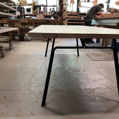 Our CORDUROY TABLE seen at the carpentry. Design by Danish designer @christiantroels #dk3 #trueaesthetics #corduroytable #christiantroels #danishdesign #madeindenmark