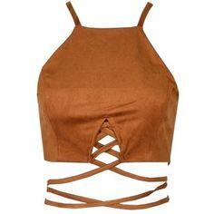 Brown Suede Lace Up Crop Top