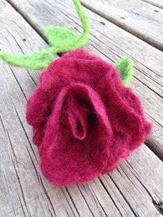 Felted Rose with Posable Stem Spring Home Decor by LovingBlossoms