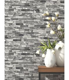 White Navy Metallic Silver Gold Brick Stone Feature Rustic Effect Wallpaper