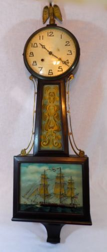 Antique New Haven 37 Banjo Clock With Tall Ship Reverse Painting Clock Wall Clock Design Antique Clocks