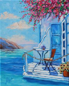 On Sale Beauty Of Santorini Original Oil Painting Seascape Wall Art On Canvas Rebecca Beal Original Oil Painting Beauty Of Santorini Greece Canvas Art Seascape Wall Art Canvas Painting In Oil Rebecca Beal Cute Paintings, Beautiful Paintings, Landscape Art, Landscape Paintings, Watercolor Illustration, Watercolor Paintings, Greece Painting, Greece Art, Canvas Art Quotes