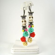 Day of the Dead Earrings, Dia de los Muertos Earrings by TexasStitchWitches on Etsy https://www.etsy.com/listing/251117248/day-of-the-dead-earrings-dia-de-los