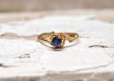 14kt Gold Naples Sapphire Engagement Ring  14kt by OliviaEwing, $698.00