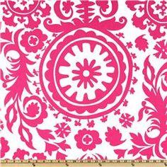 Premier Prints Suzani White/Candy Pink
