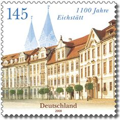 Residence Square and Cathedral, Eichstätt German Stamps, Stamp Collecting, Postage Stamps, Post Ag, Cathedral, Louvre, Germany, World, City