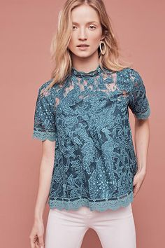 Lace Meadows Blouse, Turquoise - anthropologie.com