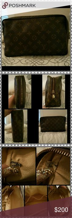 Authentic Louis Vuitton Toiletry 28 DC NO 0909 Very large Louis Vuitton Monogram Toiletry 28. Inside could use a little cleaning & I just noticed there's 1 flaw which is shown on 4th photo. Zipper works Great! Hardware is slightly fading. All around great Pre-Loved piece to add to your collection!!! Date Code NO 0909 **I'll be setting closet on vacation mode, so any orders placed by 5pm will go out today. Anything later will have to wait until Tuesday** Louis Vuitton Bags