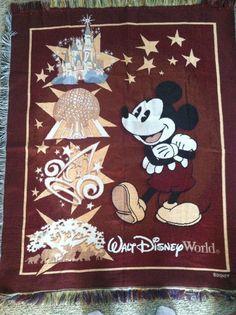 Mickey Mouse Blanket Throw Tapestry   50x60 Disneyworld Epcot Animal Kingdom