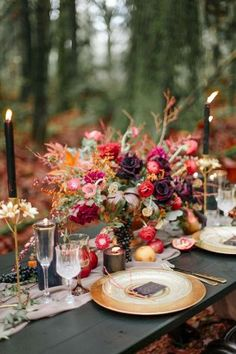 Fall wedding decorations - Moody Burgundy and Gold Wedding Inspiration – Fall wedding decorations Table Decoration Wedding, Wedding Centerpieces, Wedding Table, Table Decorations, Wedding Reception, Champagne Wedding Decorations, Garden Wedding, Forest Wedding Decorations, Colorful Centerpieces