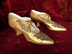Beaded gold evening shoes, ca. 1923