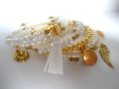 White and Gold Memory Wire Bracelet Wrap Multi by AmorPorteno