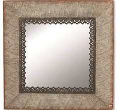 Tin Framed Wall Mirror Square Mirror Decorative Wall Mirror