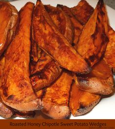 Roasted Honey-Chipotle Sweet Potato Wedges - Roasted sweet potatoes are so delicious and sweet. With these wedges, I spice it up a little using the favorite sweet and spicy combination of honey and chipotle peppers. They're a great option to replace standard potato wedges or french fries as a side for sandwiches, burgers or hot dogs.