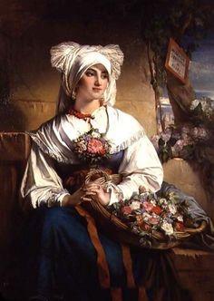 The Flower Seller, by Jean-François Portaels (Belgian, 1818-1895)