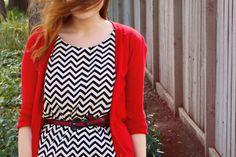 black & white chevron & bright red cardigan
