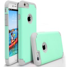 iPhone 6 Plus Case, MagicMobile® Hybrid Ultra Protective Thin Armor Case For Apple iPhone 6 Plus Shockproof Skin Hard Dual Cover High Impact Case for iPhone 6 Plus (5.5-inch) [Mint Green / Light Gray]