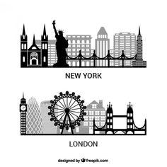 Pack de siluetas de Nueva York y Londres Vector Gratis