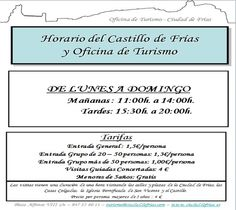 Horario del Castillo y la Oficina de Turismo de Frías a partir de mayo.