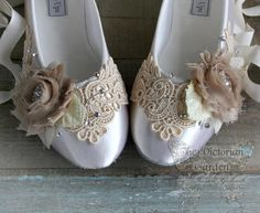 SELINA wedding bridal flats, romantic Victorian, vintage inspired lace embellished fairytale ballet slippers