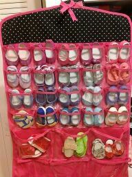 store doll shoes in a hanging jewelry organizer