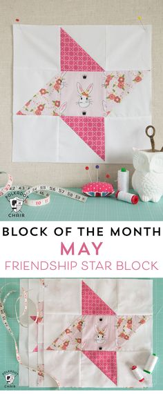 Diy Crafts : Illustration Description The May Block of the Month in the Polka Dot Chair Quilt Block series, a free tutorial to make a Friendship Star Quilt Block Crafting is just…Fun! Quilt Block Patterns, Pattern Blocks, Star Patterns, Quilting Projects, Sewing Projects, Quilting Ideas, Sewing Crafts, Sewing Hacks, Diy Crafts