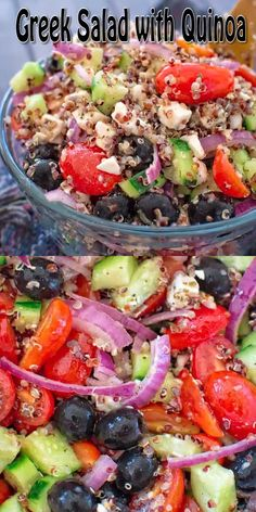 This Greek Salad with Quinoa is filled with fresh veggies, crunchy quinoa and drizzled with delicious lemon vinaigrette. Visit Cooktoria for printable recipe and make this quinoa salad today! #Greek #salad #quinoa #healthyrecipe #lunch #mealprep #recipeoftheday