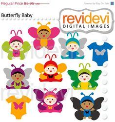 Baby in Butterfly Costumes Cliparts 07517    This set features cute baby in butterfly costume. They come in bright colors such as pink, yellow, green,
