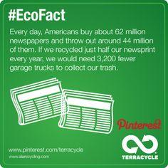 Recycle newspapers #EcoFact #TerraCycle