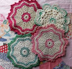 "potholders... my grandmother could not have ""idle hands"" and constantly crocheted potholders!!!"
