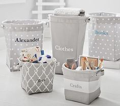 Gray Canvas Storage #pbkid something like this for laundry basket. Large gray and white polka dot