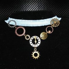 Bronze Lace Collar Necklace Steampunk Vintage Lady  Filigree Cogs Gears Key Wing
