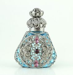 Jeweled Vintage Antique Silver Tone Filigree Aqua Blue Crystal PERFUME BOTTLE Collectible Gift Vial