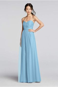 Ethereal tulle makes for an enchanting wedding party. This extra length strapless  bridesmaid dress features a removable waistband and knotted sweetheart ... 9ae44eb1839e