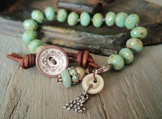 Mint green Knotted slashKnots slipKnot bracelet - Country Mint  - rustic seafoam blue green sterling silver heart pearl button boho chic
