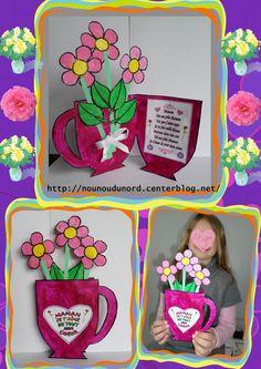*2013* Voici le joli cadeau qu'Axelle bientôt 8 ans a réalisé pour offrir à sa maman le jour de la fête des mères, c'est une carte vase avec des belles fleurs le tout en peinture avec un poème ...