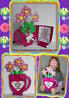 Carte vase avec des belles fleurs , explications sur mon blog