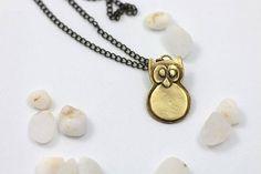 Owl necklace Owl pendant Animal Necklace Brass Necklace Owl Necklace, Brass Necklace, Owl Pendant, Wearable Art, Animal, Jewelry, Jewlery, Jewels, Animals