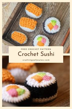 Make this easy crochet sushi with my free pattern! #amigurumifood #freepattern #amigurumisushi Crochet Food, Crochet Bunny, Crochet Baby Booties, Crochet Gifts, Cute Crochet, Easy Crochet, Crochet Ideas, Crochet Animals, Sushi Set