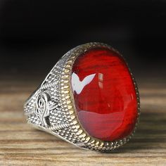 925 K Sterling Silver Man Ring Red Amber 9,75 US Size $34.90
