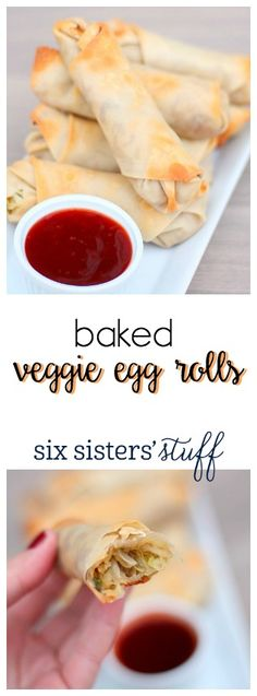 Baked Veggie Egg Rolls from SixSistersStuff.com | Delicious, healthy Baked Veggie Egg Rolls you can enjoy without feeling guilty! Try them for dinner or an afternoon snack.