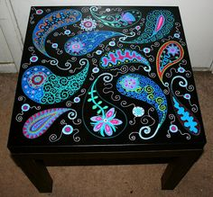 Black paisley table.