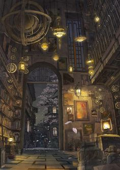 TEMPLE LIBRARY at night during cherry blossom season. Image appears to be from the WIND DRAGON QUEST RPG [role-playing game). [Artist/Origin/Source Unknown]