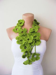 Flower Scarf Hand Crochet Green Flowers Lariat Scarf by fairstore Cute Scarfs, Stunning Girls, Beautiful, Scarf Jewelry, Jewelry Shop, Jewellery, Textiles, Green Flowers, Angel Flowers