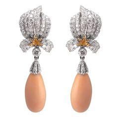 Buccellati ~ Platinum & 18 kt. gold pendant earrings set with brilliant-cut diamonds, suspending angel skin coral drops. Coral is detachable.
