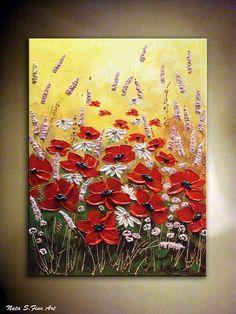 """""""Wildflower Meadows"""" tamaño: 24 """"x 18"""" Técnica: Acrílico Colores dominantes: verde, blanco, púrpura, amarillo, beige, negro, rojo ....  by NataSgallery on Etsy, $170.00"""